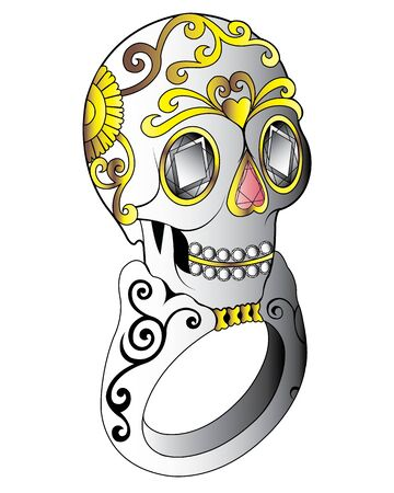 Illustration pour Jewelry Design Sugar Skull Ring. Hand drawing and painting on paper. - image libre de droit