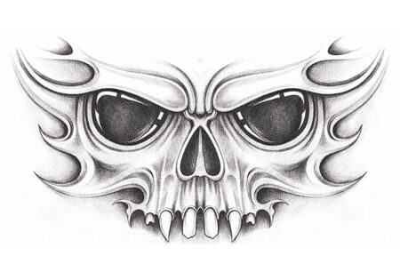 Photo pour Art Surreal Skull Tattoo. Hand drawing on paper. - image libre de droit