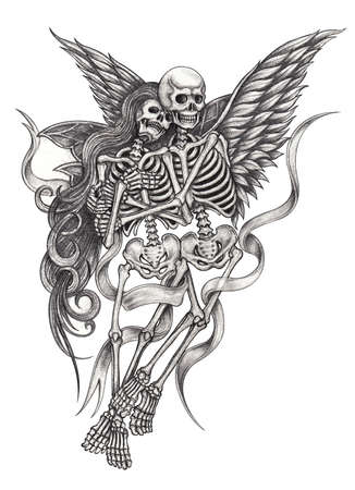 Photo pour Art surreal fantasy couple fairy and angel skulls tattoo. Hand drawing on paper. - image libre de droit