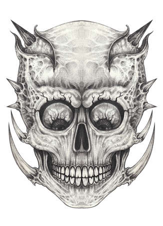 Photo for Surreal skull tattoo. Hand drawing on paper. - Royalty Free Image