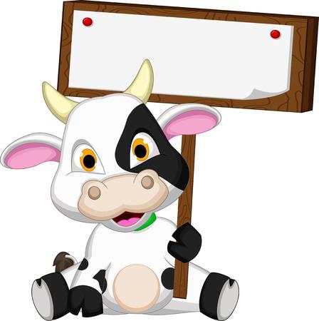 Cute cow cartoon with blank board