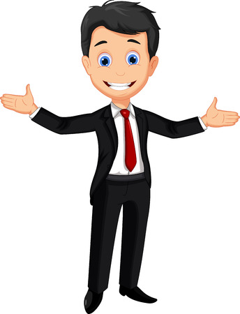 business man cartoon presenting