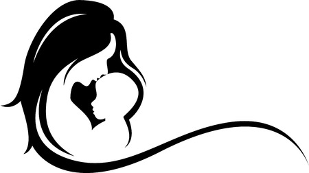 mother and baby silhouette