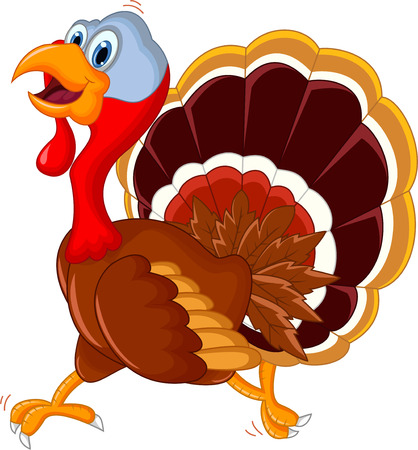 heppy turkey cartoon running for you design