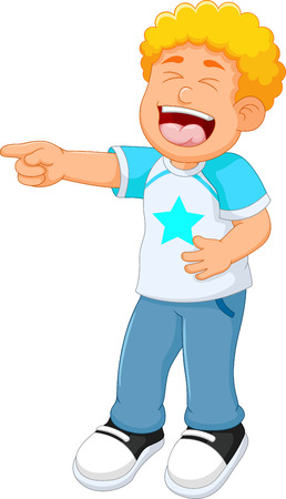 Cute boy cartoon standing with laughing