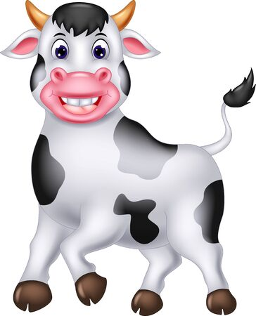 Illustration for Funny White Cow Cartoon For Your Design - Royalty Free Image