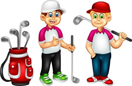 Illustration for Funny Golfers Cartoon For Your Design - Royalty Free Image