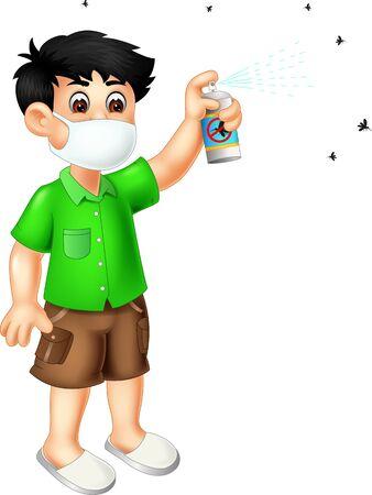 Funny Boy Using Mosquito Spray Cartoon For Your Design