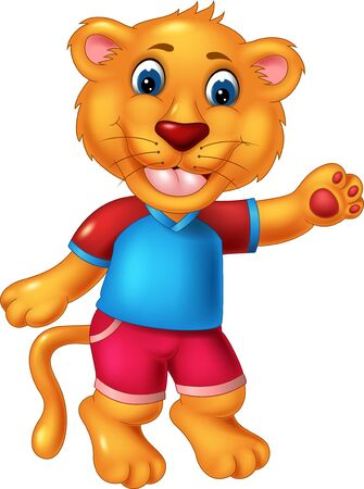 Illustration for Funny Lion Kid In Blue Shirt Cartoon For Your Design - Royalty Free Image