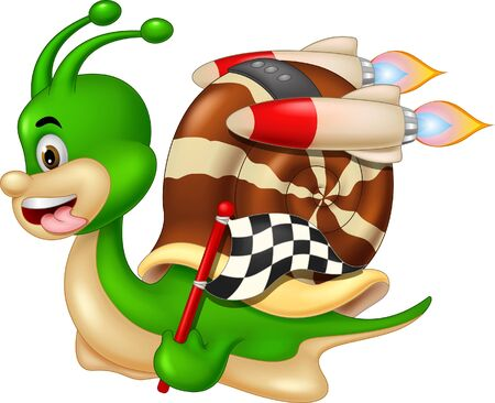 Illustration for Funny Racing Green Snail Cartoon For Your Design - Royalty Free Image