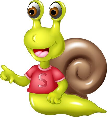 Illustration for Funny Green Snail In red Shirt With brown Shell Cartoon for your design - Royalty Free Image