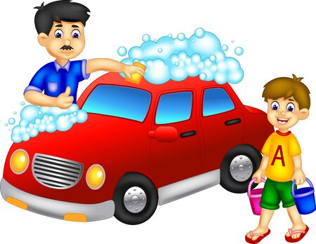 Illustration for Cool Father And Son Washing Red Car Cartoon for your design - Royalty Free Image