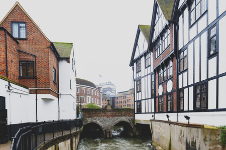 Kingston upon Thames, United Kingdom - April 2018:  Clattern Bridge over the Hogsmill, a tributary of the River Thames, in the city of Kingston upon Thames, England