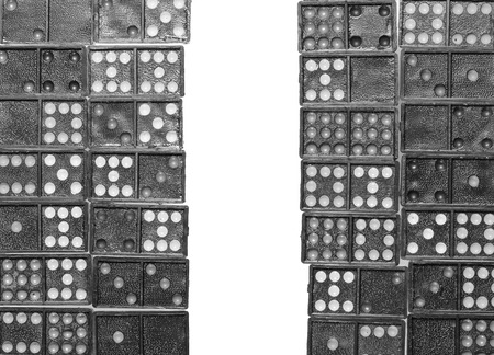 old domino and space for text isolated on a white background