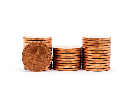 Saving money and account finance bank business concept, Stack of coin isolated on white background
