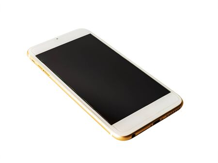 Photo pour Smart phone black screen isolated on white background - image libre de droit