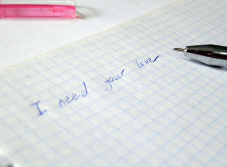 write i need your love on notebook