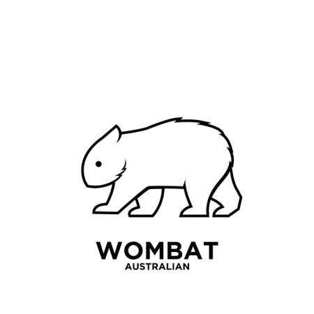 Illustration pour Australian animal wombat animal vector black logo icon illustration design - image libre de droit