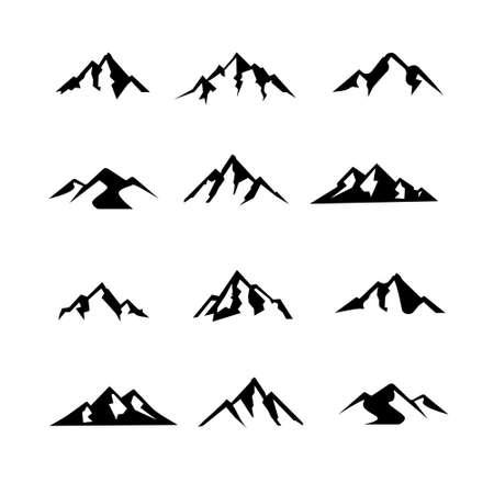 Illustration pour set collection simple Mountain black vector logo icon illustration design isolated background - image libre de droit