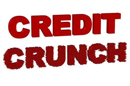 Credit Crunch Lettering 3d Render on a White Background