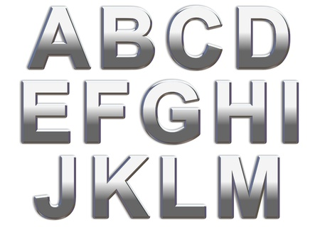 Chrome capital letters on a white background A-M