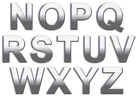 Chrome capital letters on a white background N-Z