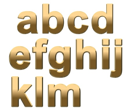Gold lowercase letters on a white background A-M