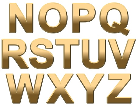 Gold capital letters on a white background N-Z