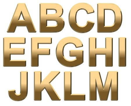 Gold capital letters on a white background A-M