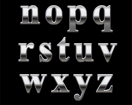 Chrome lowercase letters on a black background N-Z