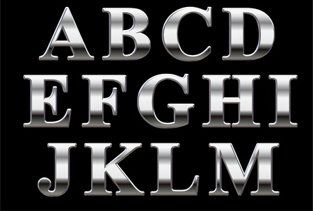 Chrome capital letters on a black background A-M