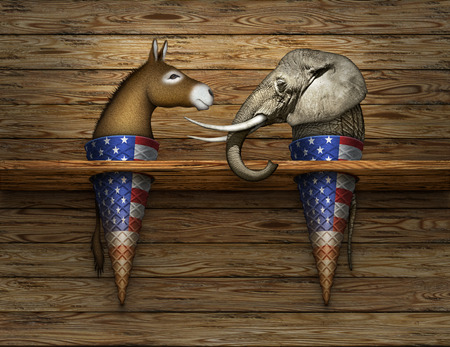 Digital and photo illustration of a donkey and elephant as two flavors of ice cream in cones, representing democrats and republicans.