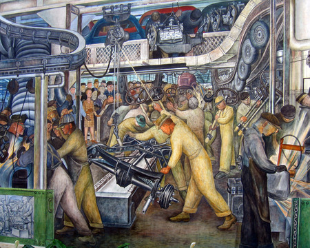 Diego Rivera mural of an auto assembly line