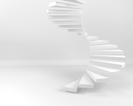 Photo pour Spiral  staircase with white background - image libre de droit