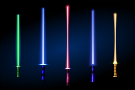 set of different color laser light swords. vector illustration. part of collection. good for your cool design