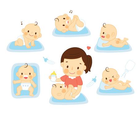 Photo pour set baby with mother - image libre de droit