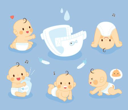 Illustration pour set Diaper Baby - image libre de droit