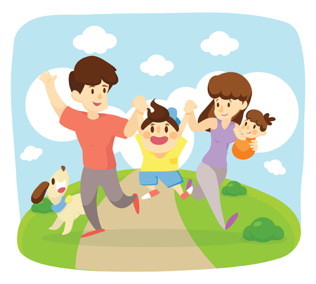 Foto per happy family run  together - Immagine Royalty Free