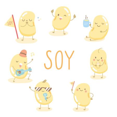 Vektor für character cartoon cute soy - Lizenzfreies Bild