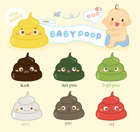 Illustration pour set baby poop Shades Color - image libre de droit