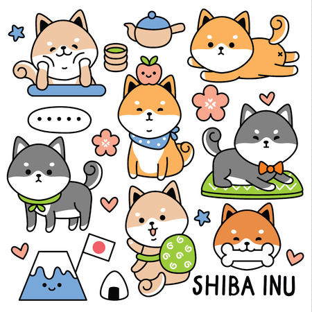 Illustration pour set cute dog japan shiba - image libre de droit