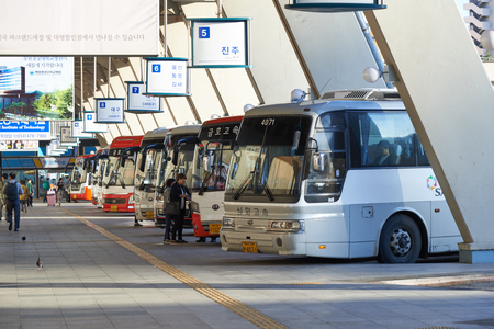 Seoul, Korea - September 18, 2015: View of Seoul Express Bus Terminal in a morning. Seoul Express Bus Terminal is the main bus terminal located in Seocho-gu and it operates routes to the cities near the Gyeongbu line.