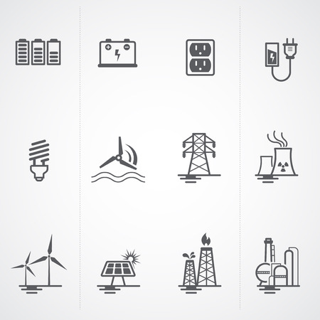 Energy, electricity, power icons set