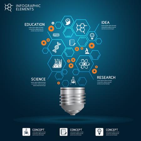 Ilustración de Creative science light bulb Abstract infographic Design template - Imagen libre de derechos