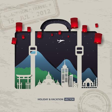 Illustration pour Infographics luggage bag Travel and Vacation concept elements. - image libre de droit