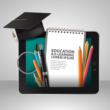 Vector Education school university e-learning concept with tablet