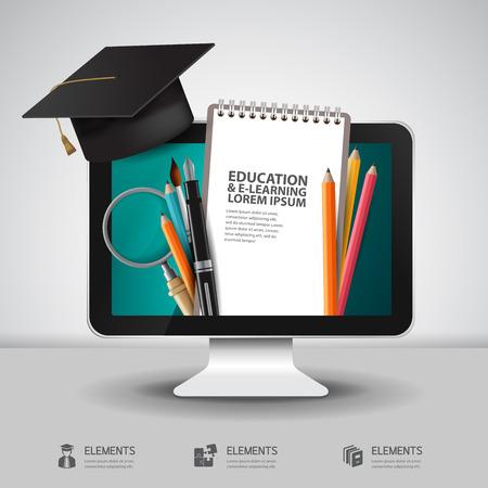 Illustration pour Vector Education school university e-learning concept with computer - image libre de droit