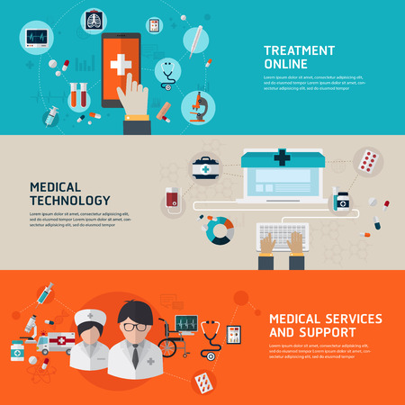 Online medical diagnosis and treatment. Flat design concepts for web banners and printed materials and promotional materials.