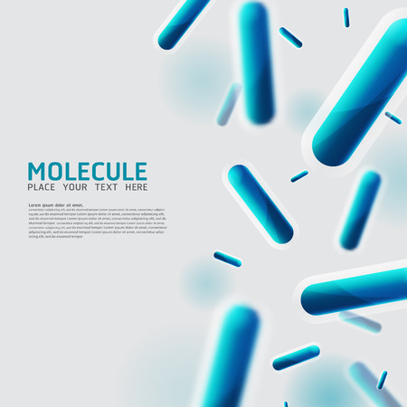 Abstract molecules, Bacteria, cell, virus design. Vector Medical scientific Atoms and biology cell.