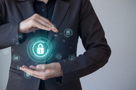 Foto de Business, technology, internet and networking concept. business security, safety of information from virus, crime and attack. Internet secure system. Cyber security - Imagen libre de derechos